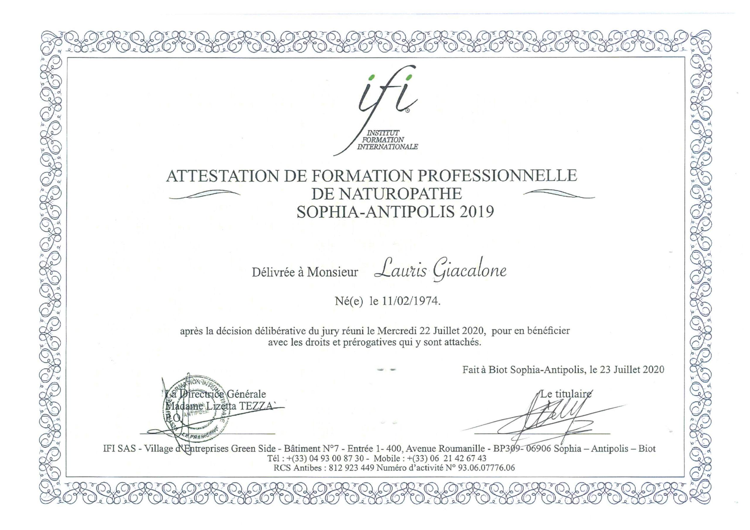 certification naturo LG