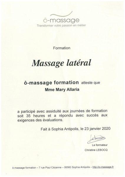 Certification Massage femme enceinte et latéral
